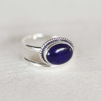 Lapis Gemstone Ring in Solid 925 Sterling Silver