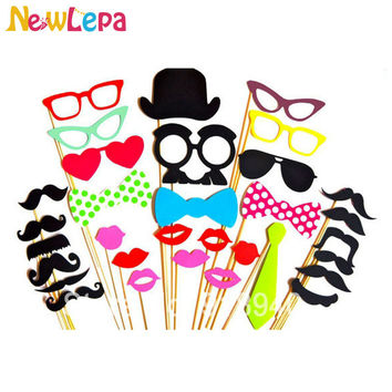 32pcs Photo Booth Props Glasses Mustache Lip On A Stick Wedding Props And Decorations