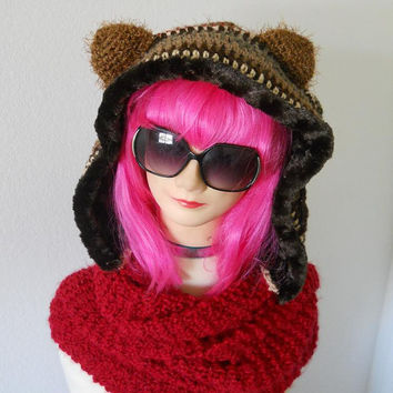 free form upcycled yarn bear scoodie hood scarf