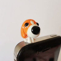 SALE 80-20%OFF: Cute Sitting Dog // iPhone Plug . Phone Charm . Phone Plug . Dust Plug - Hand Painted, Doggie, Kawaii, Girly
