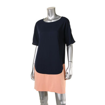 Donna Morgan Womens Colorblock Short Sleeves Casual Dress