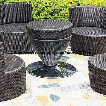 Creative Bottle Combination Outdoor Sofa Furniture Set Garden Chair Table Sofa Set Combination Wicker Patio Furniture HFA115