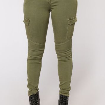 Miles To Go Cargo Skinny Jeans - Olive