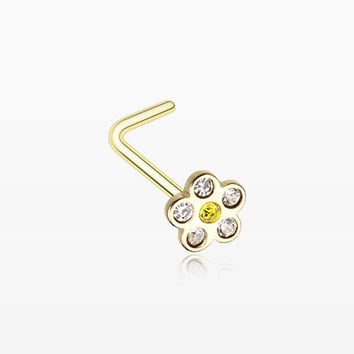 Golden Flower Sparkle L-Shaped Nose Ring