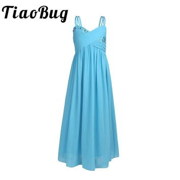 TiaoBug Girls Party Children Wedding New Tulle Floor Length Ball Gown Dress with Rhinestone Kids Vestido Girls Bridesmaid Dress
