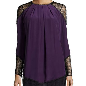 Alice + Olivia Gracie Lace-Panel Pleated Tunic, Plum