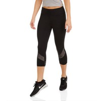 Athletic Works Women's Performance Capri with Printed Side Inset - Walmart.com