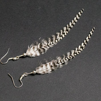Feather earrings: natural real feathers, grizzly, simple, bohemian boho hippie tribal indian gypsy, black and white very light, gift for her
