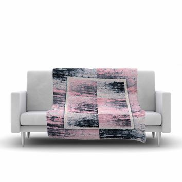 "Nina May ""Tavertina Pink"" Gray Pink Mixed Media Fleece Throw Blanket"