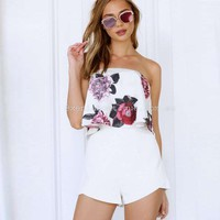 Flower Print Ruffles Crop Top with Shorts Two Pieces Set