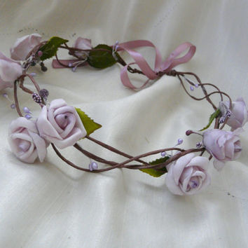 Rose Wedding Crown, Lilac Floral Crown, Purple Hair Garland, Woodland Wedding Circlet, Flower Girl Hair Crown