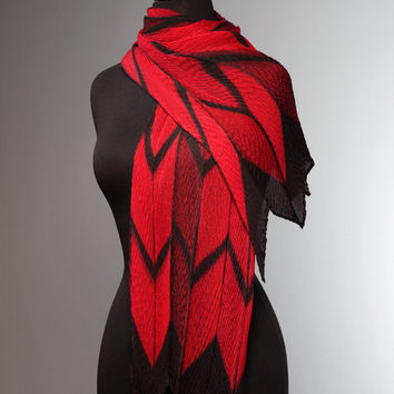 Pleated Red and Black Arrow Scarf by Laura Hunter (Silk Scarf) | Artful Home