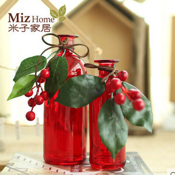 Purple Color Simple Style Glass Vase  for Home `