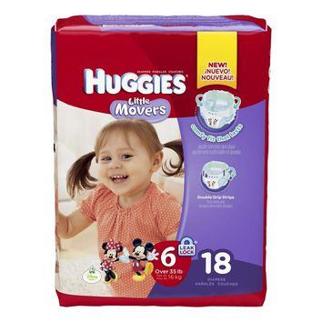 Size 6 Baby Diaper Huggies Little Movers Tab Closure (Over 35 lbs) | Huggies #40799