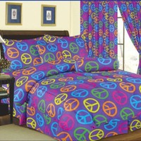 5 Piece Comforter Set. Purple Peace Sign Bed in a Bag- Twin