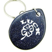 Lucky Clover Wish Stone Blue Goldstone Gemstone Keychain