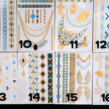 FOUR 4 CHOICE Bundle Pack! Pick Any FOUR - Metallic Gold Silver Light Blue and Black Temporary Tattoo - Flash Tattoo - Jewelry Tattoo