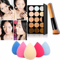 Hot Sell 15 Colors Cream Makeup Set  for pincel maquiagem Concealer Palette Water Sponge Puff Powder Brush pinceis