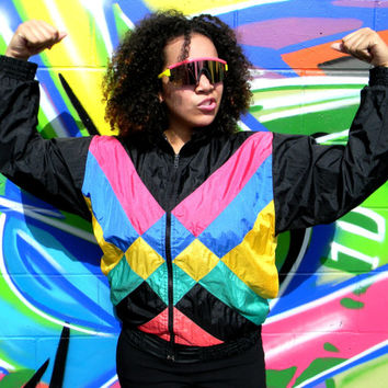 Vintage 80s LONDON FOG Windbreaker Jacket, 80's HOT Pink Black Yellow Blue Women's Track Suit Top, Hip Hop Party Zip Up Bomber Size Small S