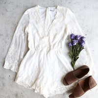 Reverse - road to nowhere gauzy lace romper with bell sleeve - more colors