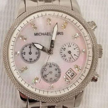 Michael Kors Women Stainless Steel Mother of Pearl Ritz Chronograph Watch MK5020
