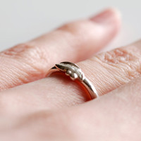 Size 4 1/2 handmade mini leaf ring in solid sterling silver , simple stacking ring , small stackable ring , leaf and berries jewelry