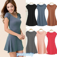 Women's summer dress Girl Mini Dress Short Sleeve Candy Color One-piece Slim Basic Dresses = 1958422660