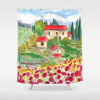 Tuscan Landscape Shower Curtain -  Countryside Scene - Fabric - trees, flowers, architecture, scenery, Italian bathroom makeover