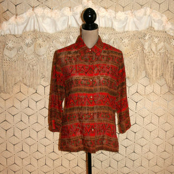 Ethnic Tribal African Print Blouse 3/4 Sleeve Sheer Burnout Blouse Button Up Tunic Red Brown Coldwater Creek Size Medium Womens Clothing