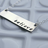 Hand Stamped Necklace believe by PureJewelDesigns on Etsy