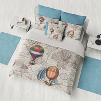 Hot Air Balloons Duvet Cover or comforter in warm brown and beige-  steampunk - bedroom, bed travel decor,  winter, warm