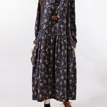 Casual Round Neck Fancy Tiny Floral Printed Maxi Dress