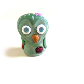 Undead zombie owl, bird figurine in green  polymer clay
