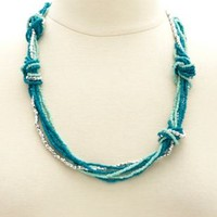 Knotted & Beaded Necklace by Charlotte Russe - Turquoise