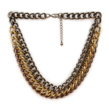 FOREVER 21 Chunky Layered Chain Necklace Gunmetal/Burn.G. One