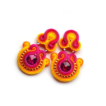 earrings native american style beaded big soutache earrings fuschia gold red pink orange yellow boucles d'oreilles piendientes orecchini