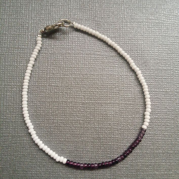 Opaque White and Lilac Mix Seed Bead Bracelet