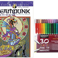 Sargent Art Classic Fine Tip Markers in a Case, Set of 30 and Dover Creative Haven SteamPunk Fashions Coloring Book by Marty Noble (Gift Bundle of 2)