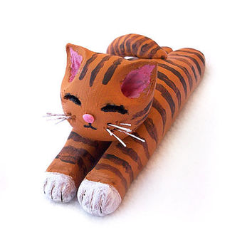 Cat Figurine, Orange Tabby Cat, Handmade Polymer Clay OOAK Cat Sculpture, Cute Cat Ornament