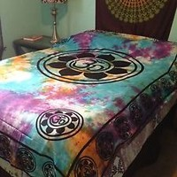 OM Aum YOGA Indian LOTUS Flower TIE DYE Hippie Wall Hanging TAPESTRY Bedspread
