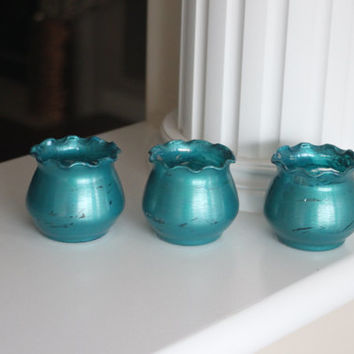 Small Vase, Glass Vase, Painted Vase, Distressed Vase, Metallic Green Vase, Metallic Blue Vase, Gift Set, Beach Decor, Ocean Decor, Gifts