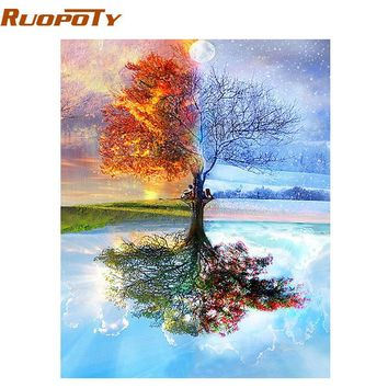 RUOPOTY Frame Tree DIY Painting By Numbers Modern Wall Art Picture Coloring By Number Acrylic Canvas Painting For Home Decor