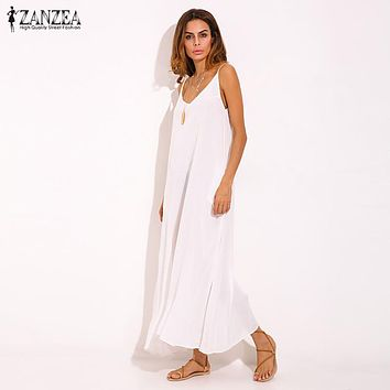 Vestidos 2018 Summer Style Women Boho Strapless Sexy V Neck Sleeveless Dress Casual Loose Long Maxi Solid Dress White Oversized