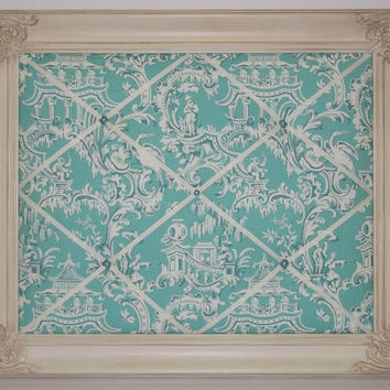 Teal Chinoiserie fabric Ornate Framed Memo Board