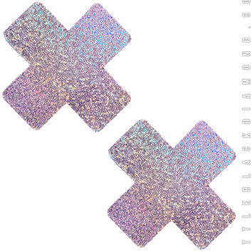 Cross Pasties in Lavender Hologram