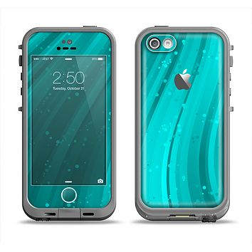 The Glowing Teal Abstract Waves Apple iPhone 5c LifeProof Fre Case Skin Set