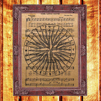 Compass print Steampunk decor Antique poster Music sheet