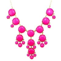 Hot New Women Bubble Bib Statement Necklace Fashion Chain Hot Pink