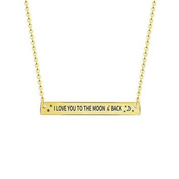 Bridesmaid Gift I Love You To Moon & Back Necklace Women Men Boho Jewelry Stainless Steel Gold Chain Long Bar Pendant Necklace