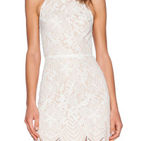 Off White Lace Strappy Back Mini Dress